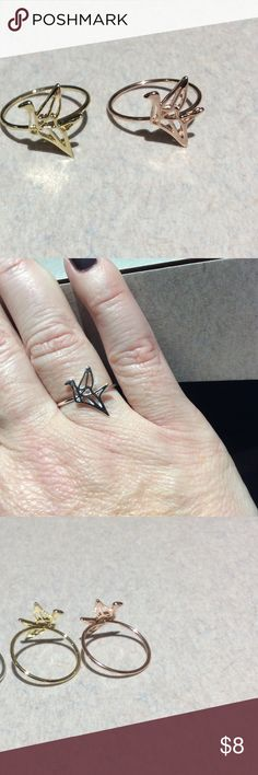 Gold or rose gold origami crane ring Gold plated or rose gold plated I wear a size 7 and it fits me perfectly. Not adjustable Jewelry Rings