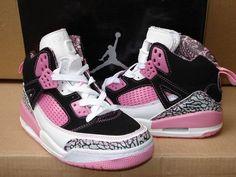 pink, white, black and pink Jordans