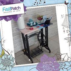 A Valéria transformou a base de uma máquina de costuma antiga em mesa de café! Tudo com produtos Fast Patch. Gostaram?