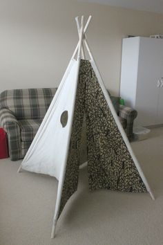 A teepee made of canvas cloth and PVC pipe.  Awesome for imaginative play!