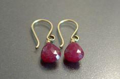 Genuine Natural Ruby Earrings, Petite Drop Silver or Gold Ruby Earrings, July Birthstone, Dainty Gemstone Dangle Earrings, Red Ruby Jewelry