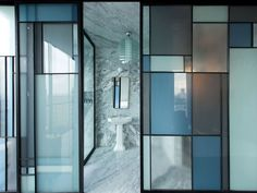 For all of you art lovers, glass may just be the perfect option to subtly show off your love for art through your home. For starters, you could go with this glass structure that has a little bit of Mondrian to it. Partition Screen, Partition Design, Glass Partition, Mondrian, Glass Design, Door Design, Interior Walls, Interior And Exterior, Exterior Doors