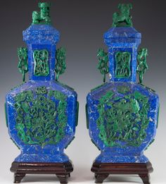 Antique Chinese Lapis Lazuli & Malachite Urns