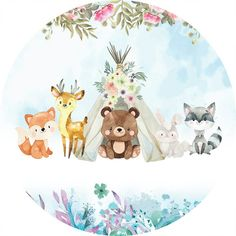 Jungle Animals, Woodland Animals, Cute Animals, Animal Nursery, Nursery Art, Edible Printing, Fox Art, Baby Cartoon, Woodland Party