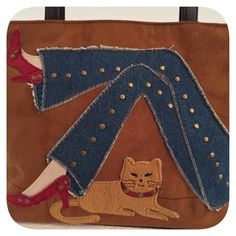 "KUTE KITTY Appliqué Tote Bag Vegan Suede with zippered closure. Appliqué includes real denim on jeans, brass colored metal embellishments, felted kitty with patent leather look collar.  Measures 9"" tall -- 12 1/2"" wide-- 7"" Drop. Very good condition. So very adorable!! MEOW! Bags Totes"