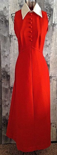 Vintage 1960s Jonathan Logan Maxi Dress Gown Mod Red White Size Small #JonathanLogan