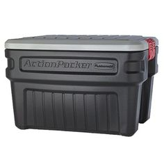 Rubbermaid 24-Gal. Action Packer Storage. $53.99 available on-line. FREE shipping with orders over 50.00.