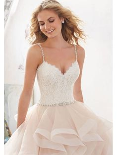 Mori Lee 8127 Marilyn Flounced Skirt With Frosted Beaded Bodice Ivory/silver