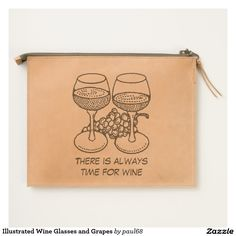 Illustrated Wine Glasses and Grapes Travel Pouch