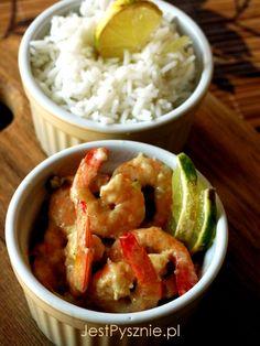 058 Krewetki z mleczkiem kokosowym, chili i limonką Shrimp, Chili, Chicken, Meat, Cooking, Food, Beef, Baking Center, Chili Powder