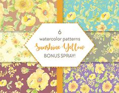 Shades Of Yellow, Bright Yellow, Watercolor Pattern, Yellow Flowers, Your Design, Pattern Design, Stationery, Delicate, Behance