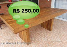 Mesa em U com pé recuado, de madeira de demolição peroba rosa.  R$ 250,00 Reais o metro quadrado.  Fazemos sob medida.