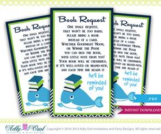 Boy Whale Book Request Card for Baby Shower by aoprintablesforkids, $5.50