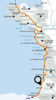 oxygen course in the Landes! The Vélodyssée Rando Velo, Road Trip Map, Cycling Holiday, Brittany France, City Maps, Roadtrip, California Travel, France Travel, Hiking Trails