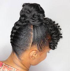Upside Down Braid to Bun with Curly Bangs Ondersteboven vlecht naar broodje met krullende pony Natural Hair Updo, Natural Hair Styles, Au Natural, Going Natural, Natural Life, Braided Updo, Bun Updo, Fishtail Braids, Hair Ponytail