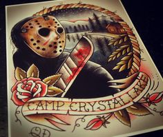 Hey, I found this really awesome Etsy listing at https://www.etsy.com/listing/165844010/jason-voorhees-tattoo-art-print