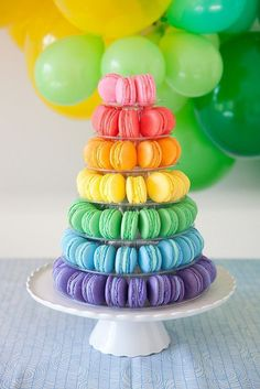 Rainbow Macaron Tower (+ More Macaron Making Tips Thanks for all of your sweet c. Rainbow Macaron Tower (+ More Macaron Making Tips Thanks for all o Rainbow Desserts, Rainbow Food, Rainbow Theme, Taste The Rainbow, Cute Desserts, Rainbow Colors, Dessert Recipes, Rainbow Cakes, Rainbow Treats