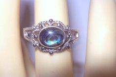 Vtg Lacy Frame Mother of Pearl Abalone Eye Art Deco 925 Sterling Silver Ring 10