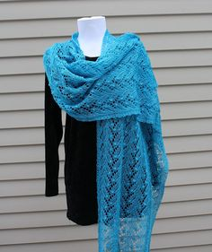 Estonian Lace Shawl Knitted Lace Rectangular by AllKnittedLace