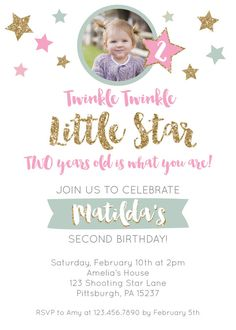 Twinkle Little Star Invitation Girl Birthday Mint Gold Pink Glitter In
