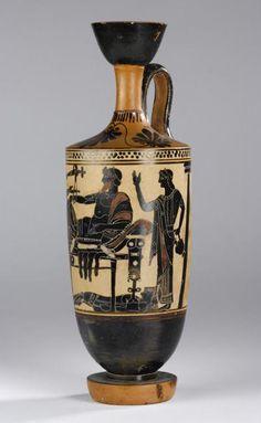 Lekythos decorado com uma cena de Ilíada de Homero. Retrata Aquiles entregando o corpo de Heitor para seu pai Príamo. Pintado por Edimburgo. Datado do século V a.C. Atualmente exposto no Museu Nacional da Escócia.