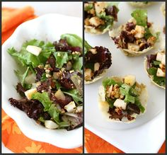 Gorgonzola Cheese Cups with Pear & Hazelnut Green Salad Recipe