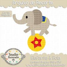 Elephant & Ball, Elefante & Bola, Animal Selvagem, Wild Animal, Estrela, Star, Equilíbrio, Circo, Circus, Corte Regular, Regular Cut, Silhouette, DXF, SVG, PNG