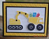 Handcrafted Kids Construction Trucks Birthday Card