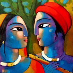 Art Painting - Radha Krishna by Sekhar Roy