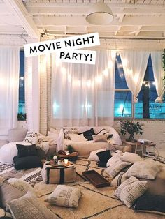 MOVIE NIGHT PARTY (D E S I G N L O V E F E S T) as a kid, there was nothing better than building a fort, bringing snacks under it and watching a movie. so i made the adult version for me and my friends! we hooked up my apple tv to the projector and 13th Birthday Parties, Birthday Party For Teens, Slumber Parties, 17th Birthday, Adult Slumber Party, Slumber Party Decorations, Room Decorations, Teenage Girls Birthday Party Ideas, Slumber Party Snacks