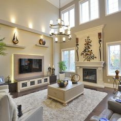 Two Story Living Room Design Ideas Pictures Remodel and Decor