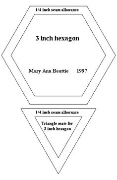 Pattern for quilting 3 hexagon and triangle mate