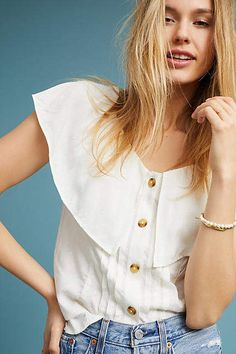 See this Eloise Ruffled Blouse from Anthropologie. Fashion 101, Womens Fashion, Lifestyle Fashion, Spring Fashion, Fashion Beauty, Cheap Online Clothing Stores, White Ruffle Blouse, Warm Weather Outfits, Clothes For Women