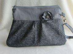 Wrislet  clutch zipper pouch in greys by JRsbags on Etsy,