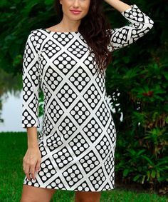 Look what I found on #zulily! Black & White Dice Three-Quarter Sleeve Boatneck Dress by Modern Touch #zulilyfinds