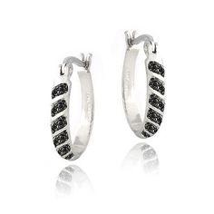 Black Diamond Accent 20mm Striped Oval Hoop Earrings Deal Price 14 99 List