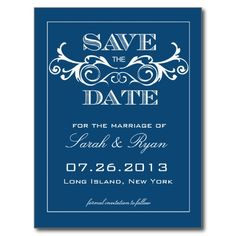 Vintage Blue Swirl Save the Date Announcement Post Cards