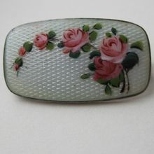 Askel Holmsen Norway Sterling Brooch Enamel Guilloche Roses
