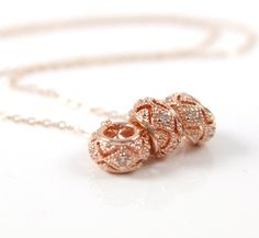 Triple Rose gold CZ crystal Spacer Beads necklace, rose gold jewelry, pink gold jewelry, chic, trendy, simple,  by ColorMeMissy