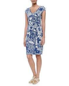 New Matte Jersey Printed Dress by Tory Burch at Neiman Marcus.
