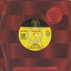 """For Sale - Elton John Friends UK Promo  7"""" vinyl single (7 inch record) - See this and 250,000 other rare & vintage vinyl records, singles, LPs & CDs at http://eil.com"""