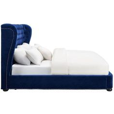 This elegant and contemporary Philly king platform bed features a sculpted headboard with gentle contours on the side. This bed is a true masterpiece and boasts over 1,500 hand-applied nail heads and a solid wood frame. Available in queen or king sizes. No box spring is required and slats are included.