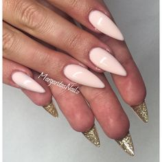 Nude and gold Stiletto nails @MargaritasNailz
