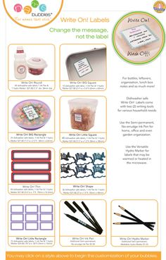 Name Bubbles - Write On! Labels - Date Labels that are personalized, waterproof  and perfect for writing messages, notes and important information