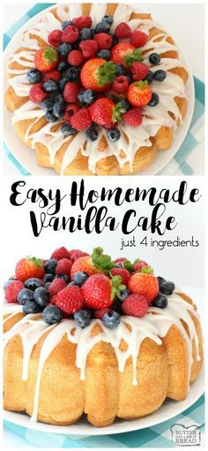 Easy Homemade Vanilla Cake ~ just 4 simple ingredients! This homemade white cake has the best flavor, like angel food cake only better. Super easy to make too! Butter With A Side of Bread