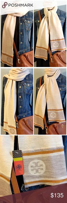 """Tory Burch Reversible Logo Scarf Tory Burch reversible two tone logo jacquard scarf in ivory melange. Brand new with tag. Retailed $175. 100% merino wool. Measures approximately 79"""" x 12"""". Include gift bag as shown. Gift bag has double sided tapes on the flap to secure item inside. Get this gorgeous Tory Burch scarf for yourself or someone special. It makes a perfect gift! From smoke free pet free home. I offer 10% discount on bundling of 2 or more items. Checkout my other listings in my…"""