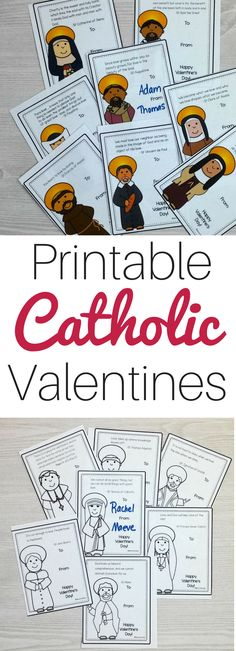 These printable Catholic Valentines are perfect for homeschooling families, Catholic school teachers, religious education teachers and more. Hand these out to your friends and spread the Gospel! Catholic Religious Education, Catholic Crafts, Catholic Books, Catholic Kids, Catholic School, Catholic Homeschooling, Catholic Saints, Valentines Day Activities, Valentines For Kids