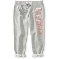 Aeropostale Aéropostale Heritage Cinch Capri Sweat Pants ($10) ❤ liked on Polyvore featuring activewear, activewear pants, lt hthr grey, cotton slip, sweat pants, lined sweatpants, cotton sweatpants and grey sweat pants