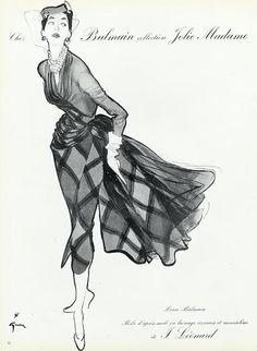René Gruau 1953 Balmain Illustration