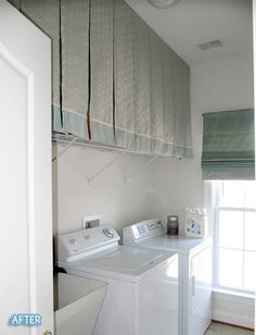 This is genious! Hang curtains over the shelving in your laundry room. It hides all the clutter. Seriously, who has time to keep the shelving uncluttered in a laundry room? This just hides it all!
